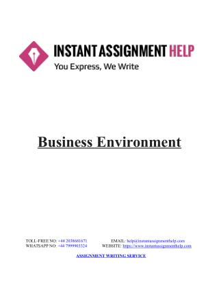 Sample Assignment on Business Environment