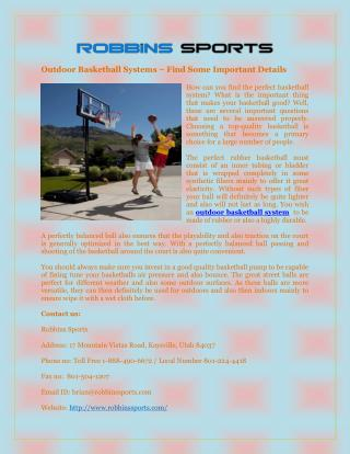 Outdoor Basketball Systems – Find Some Important Details