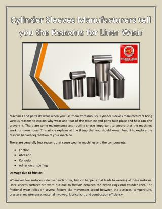 Cylinder Sleeves Manufacturers tell you the Reasons for Liner Wear