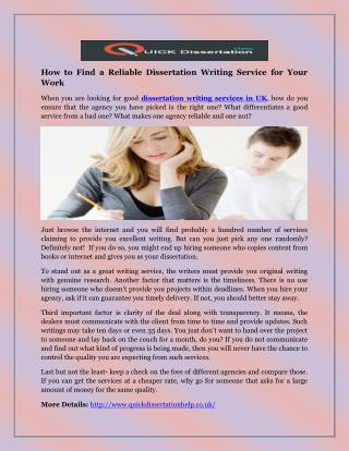 How to Find a Reliable Dissertation Writing Service for Your Work