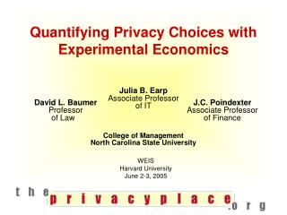 Quantifying Privacy Choices with Experimental Economics