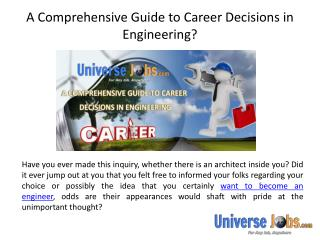 A Comprehensive Guide to Career Decisions in Engineering?