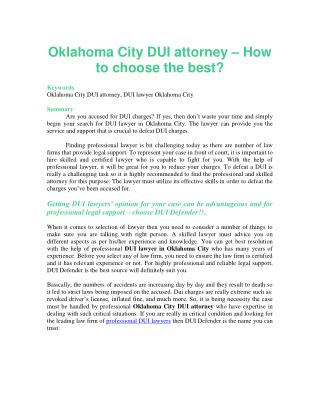 Oklahoma City DUI attorney – How to choose the best?