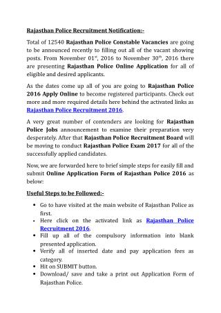 Rajasthan Police Recruitment 2016 Notification