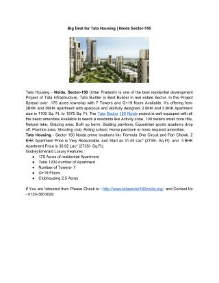 Big Deal for Tata Housing | Noida Sector-150
