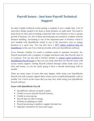 Payroll Issues – Just have Payroll Technical Support