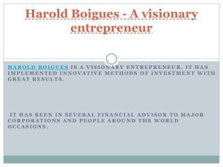 A visionary entrepreneur - Harold Boigues