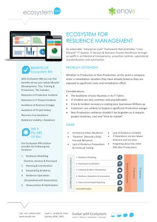 Enov8 - Ecosystem RM IT Resilience Management