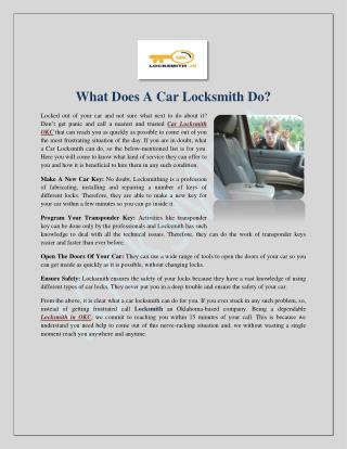 What Does A Car Locksmith Do