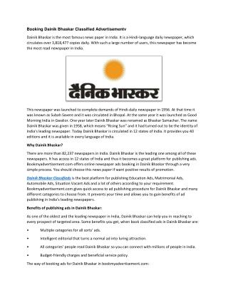 Booking Dainik Bhaskar Classified Advertisement
