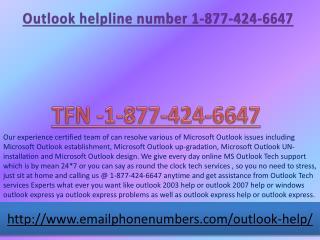 outlook help line number 1-877-424-6647 outlook help
