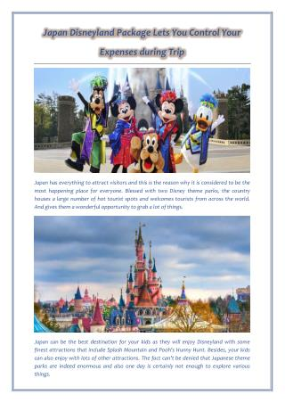Japan Disneyland Package Lets You Control Your Expenses during Trip