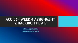 ACC 564 WEEK 4 ASSIGNMENT 2 HACKING THE AIS