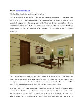Best Home & Residential Interior Designer Company in Bangalore