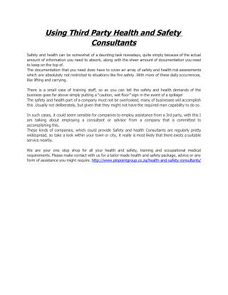 Using Third Party Health and Safety Consultants
