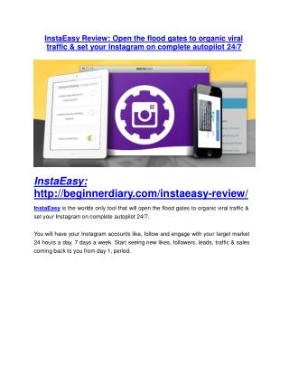 InstaEasy review-SECRETS of InstaEasy and $16800 BONUS