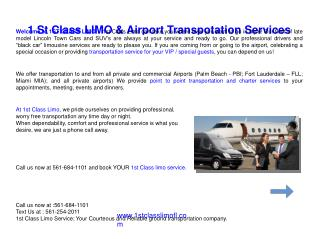 Black Car, Limousine Service and Airport Transportation West Palm Beach FL