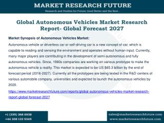 Global Autonomous Vehicles Market Research Report- Global Forecast 2027