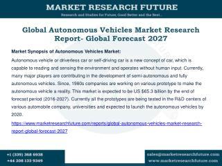 Global Autonomous Vehicles Market Research Report- Global Forecast 2027