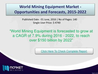 World Mining Equipment Market Share & Size 2022