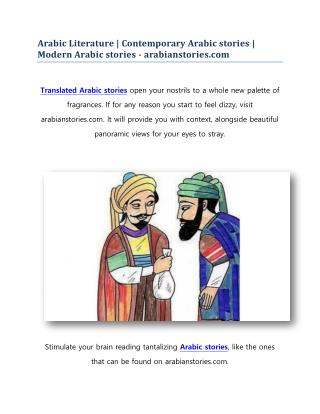 Arabic Literature | Contemporary Arabic stories | Modern Arabic stories - arabianstories.com