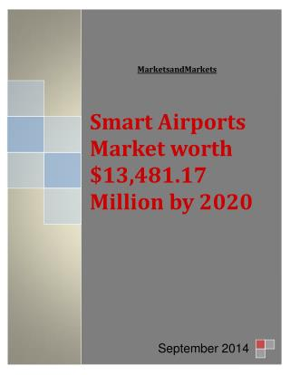 Smart Airports Market worth $13,481.17 Million by 2020