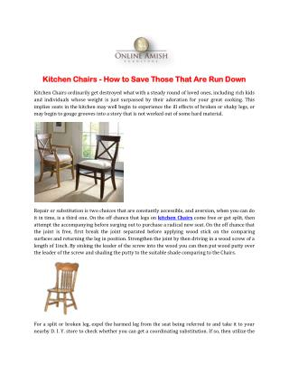 Kitchen Chairs - How to Save Those That Are Run Down