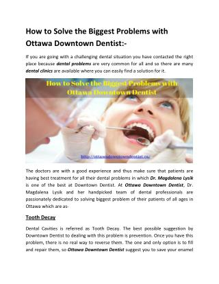 How to Solve the Biggest Problems with Ottawa Downtown Dentist