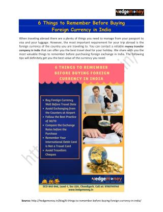 6 Things to Remember Before Buying Foreign Currency in India - Hedgemoney