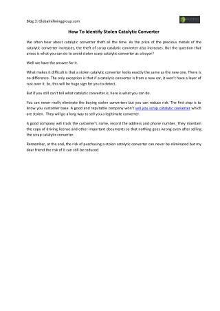 How To Identify Stolen Catalytic Converter