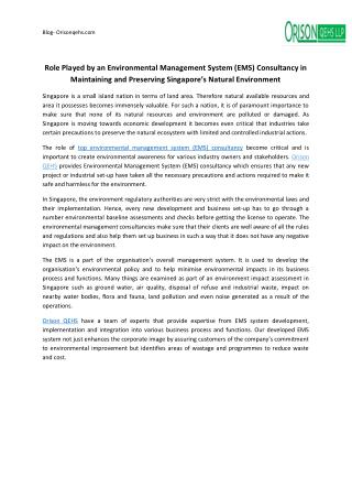Role Played by an Environmental Management System (EMS) Consultancy in Maintaining and Preserving Singapore's Natural En