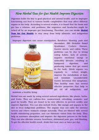 Herbal Teas For Gut Health