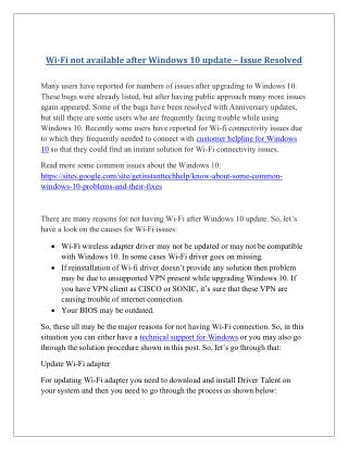 Wi fi not available after windows 10 update – issue resolved
