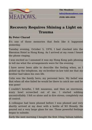 Recovery Requires Shining a Light on Trauma