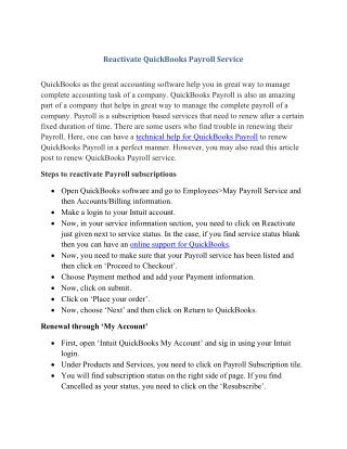 Reactivate quick books payroll service