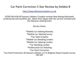 Car Paint Correction 5 Star Review by Debbie B