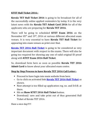 KTET 2016 Hall Ticket, Download Kerala TET Hall Ticket 2016