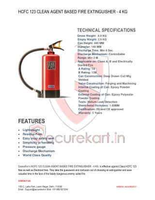 Ceasefire HCFC 123 Clean Agent Fire Extinguisher - 4 kg Features & Specifications