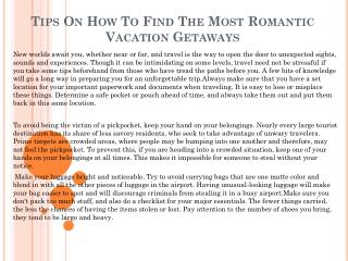 Tips On How To Find The Most Romantic Vacation Getaways
