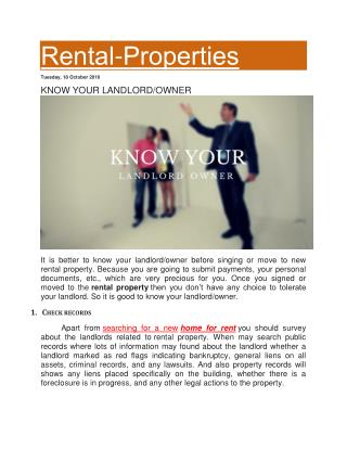 KNOW YOUR LANDLORD/OWNER