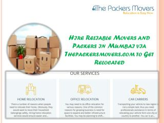 Hire Reliable Movers and Packers in Mumbai via Thepackersmovers.com to Get Relocated