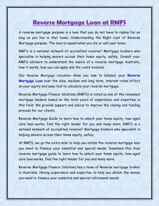 Reverse Mortgage Loan at RMFS