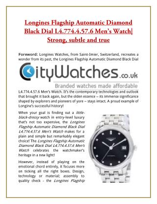 Longines Flagship Automatic Diamond Black Dial L4.774.4.57.6 Men's Watch| Strong, subtle and true
