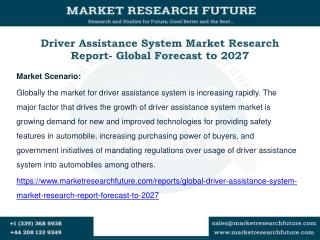 Driver Assistance System Market Research Report- Global Forecast to 2027
