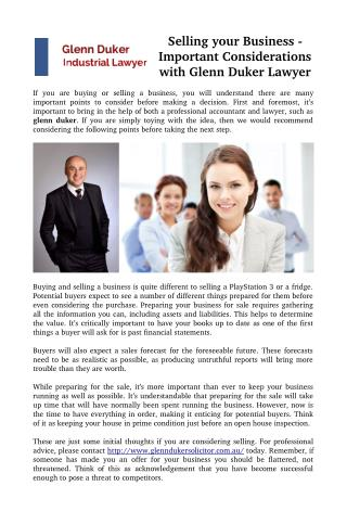 Selling your Business - Important Considerations with Glenn Duker Lawyer