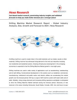 Drilling Machine Market Analysis, Size, Share, Growth, Industry Trends and Forecast to 2024 | Hexa Research
