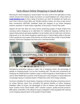 Online Shopping Facts in Saudi Arabia