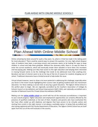 Plan Ahead With Online Middle School
