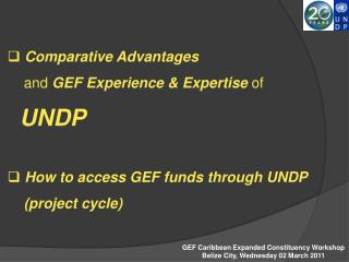 Comparative Advantages      and GEF Experience  Expertise of      UNDP     How to access GEF funds through UNDP       pr