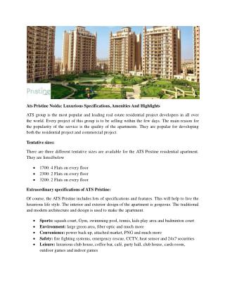 Ats Pristine Noida: Luxurious Specifications, Amenities And Highlights
